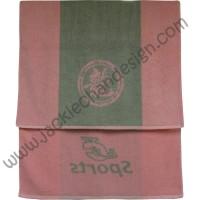 Dragon Logo JC Sports Bath Towel - Pink with Grey Stripe