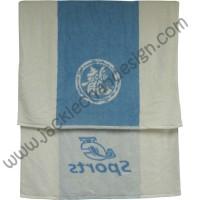 Dragon Logo JC Sports Bath Towel - White with Blue Strip
