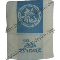 Dragon Logo JC Sports Towel - White with Blue Stripe
