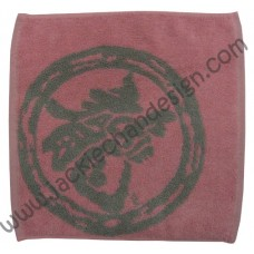 Dragon Logo Face Cloth - Grey on Pink